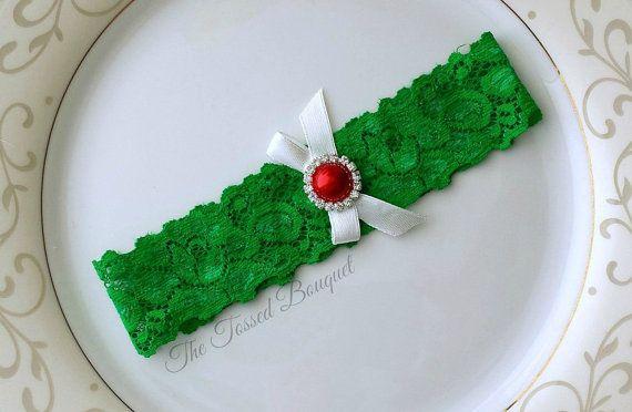 Green GarterRedWhiteBridal Garter by TheTossedBouquet on Etsy