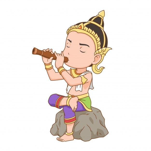 Cartoon Character Of A Man Playing Thai Oboe Dressing Thai Traditional Costume In 2021 Cartoon Artwork New Year Cartoon Cambodian Art