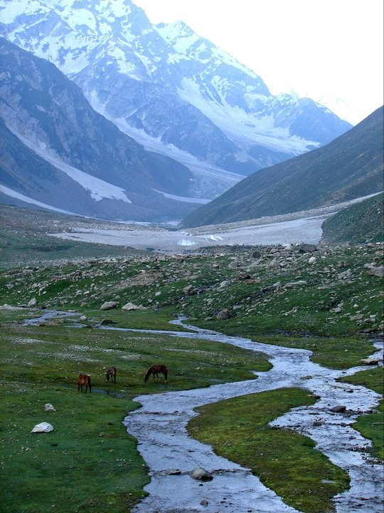 """Naran, Pakistan. ---    It's an ideal place to spend your summer evenings. The plethora of sights in this 160 km valley is unbelievable: the Kunhar River, swollen by glacier melt, meanders its way through the valley, and is the perfect river for trout fishers.    You can't imagine the excitement when you hook a delicious """"Trout"""" in your Rod!"""