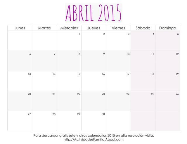 Me encantaron estos calendarios 2015 para imprimir, tienen un diseño femenino súper lindo.: Calendario Femenino Abril 2015