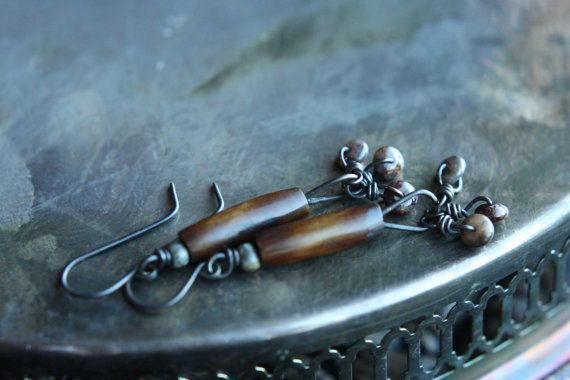 parka coats for women Tribal Inspired Long Earring With Brown Pipe Bone Pietersite Rondell