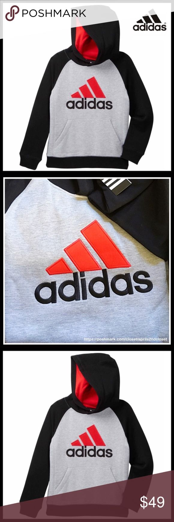 ⭐️⭐️ ADIDAS PULLOVER Tech Fleece Hoodie NEW WITH TAGS  SIZING- BiG Boys L = sizes 14-16, XL = 18-20  ADIDAS PULLOVER Tech Fleece Hoodie * Super soft & comfy * Attached hoodie w/logo detail * Contrast long sleeves * Long sleeves w/banded cuffs * Front kangaroo pocket * Pullover style  Material: 100% polyester Color: Black, grey Item#  No Trades ✅ Offers Considered*✅ *Please use the blue 'offer' button to submit an offer. adidas Shirts & Tops Sweatshirts & Hoodies