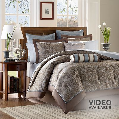 Madison Park Whitman 12-pc. Paisley Bed Set: Duvet Sets, 12 Pieces,  Comforter, Duvet Covers, Comforter Sets, Master Bedrooms,  Puff, Madison Parks, Beds Sets