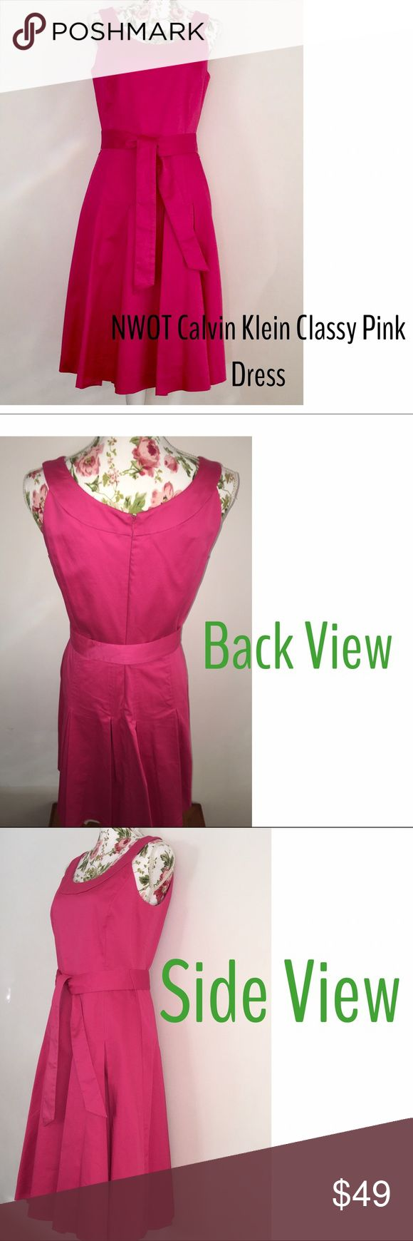 """🌺 NWOT Great quality Calvin Klein dress 🌺 See my Weekend Sale❤️ This is a high quality , perfect Calvin Klein Reddish/Pink dress . Has such lovely detail - large pleats all around bottom. Belt with thin loops (intact) to hold in place . Size 8- fits true to brand which runs a little small. I have tried this on and I think it  fits like women's 7/8. Medium weight cotton that is comfortable and so NEAT ! Measures 40"""" long, 12"""" shoulder (across back) This dress is incredible! Clean , smoke…"""