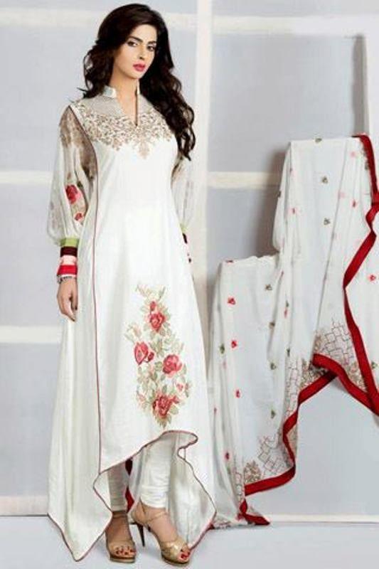 So pretty. White chiffon salwar kameez  asymmetrical dress with rose print.
