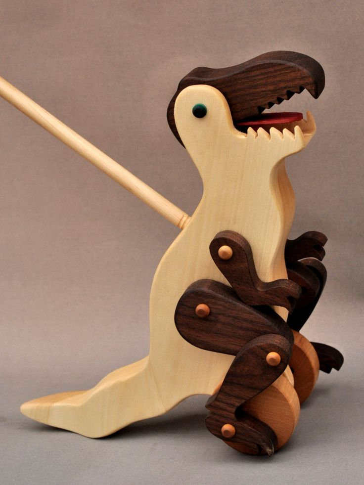 Wooden Toys For Toddlers And Kids : Tyrannosaurus rex push toy wooden