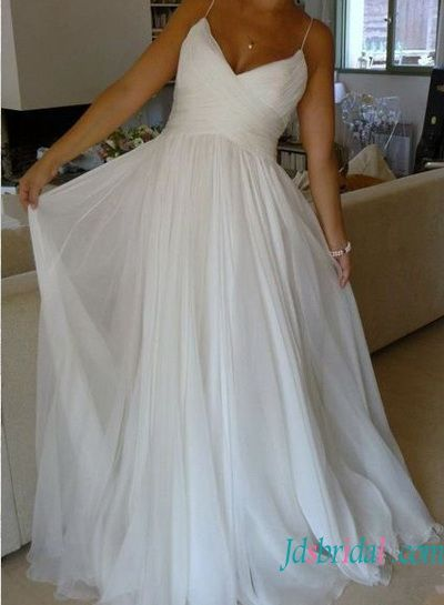 H1528 simple soft airy ethereal chiffon beach wedding dresses                                                                                                                                                                                 More