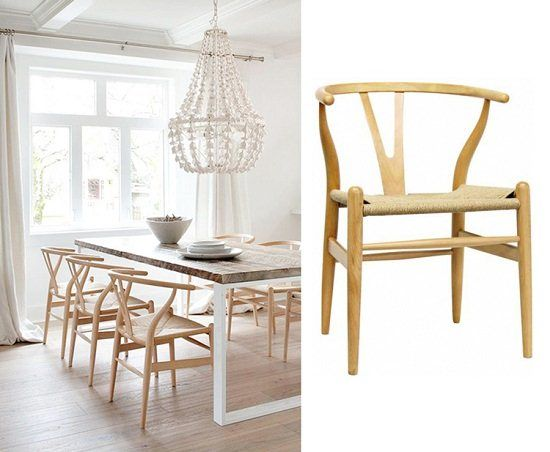 Wishbone y natural wood side chairs table leg dining for Wishbone chair table