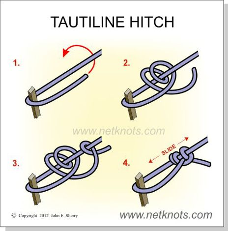100's of knots and how to tie them on this page.  Tautline Hitch - How to tie a Tautline Hitch