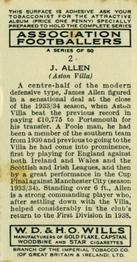 1939-40 W.D. & H.O. Wills Association Footballers #2 James Allen Back