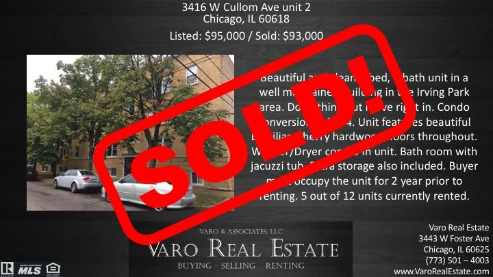 Sold! We can help you sell you as well! #VaroRealEstate #RealEstate #Realtor #Chicago #IrvingPark #Condo #ForSale #Sold #RealtorLife