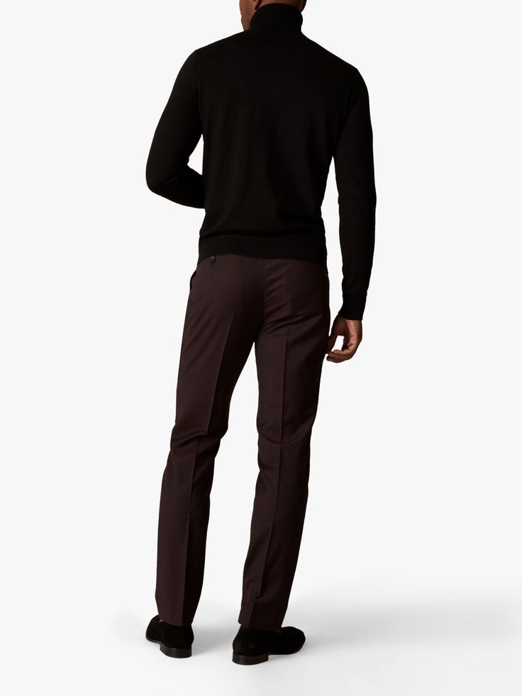 Jaeger Wool Flannel Slim Fit Suit Trousers, Burgundy