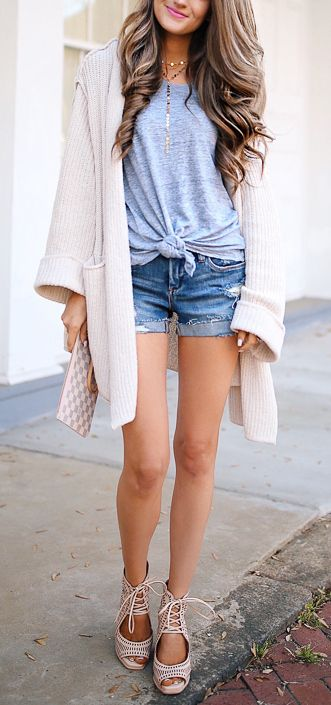 Knotted Tee + Distressed Denim Shorts
