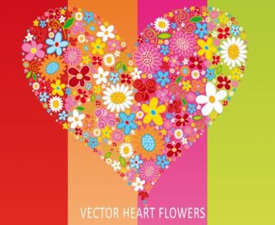 Vector heart created of lots of flowers.