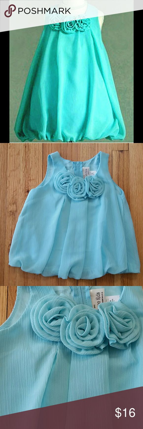Crayon Kids Boutique NWT Aqua Blue Bubble Dress Aqua blue bubble hemmed dress by Crayon Kids.  Brand new with tags; never worn.  Removable (pinned) swirled rosette flowers at neckline.  Zipper closure in back.  Fully lined.  100% polyester.  Made in USA.  Color in first picture is most accurate. Crayon Kids Dresses Formal