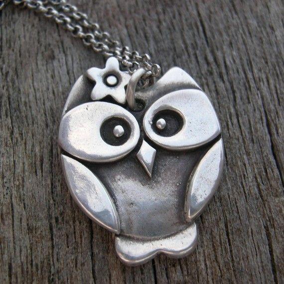 Fancy Nancy a Fine Fine Silver Owl Pendant MADE TO by westbyron, $78.00