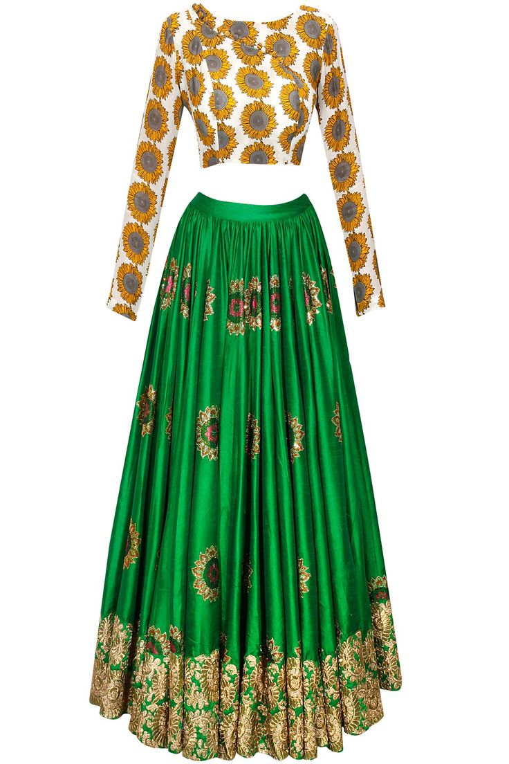 Idk how much I like the blouse, but the lehenga is really pretty. Green sunflower embroidered lehenga with printed blouse and dupatta available only at Pernia's Pop-Up Shop.