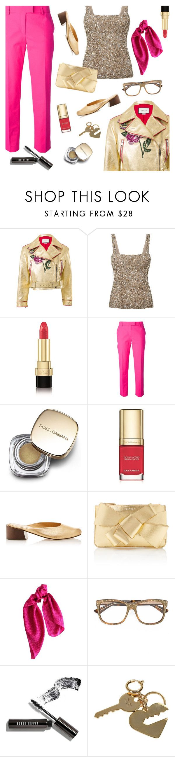"""Let's Make this Night Sparkle a Little Extra!"" by sproetje ❤ liked on Polyvore featuring Gucci, Rachel Gilbert, Dolce&Gabbana, Moschino, Mari Giudicelli, Delpozo, DKNY, Bobbi Brown Cosmetics, Sophie Hulme and NightOut"