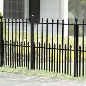 shop no dig empire powder coated steel decorative fence panel common 315 - Decorative Fencing