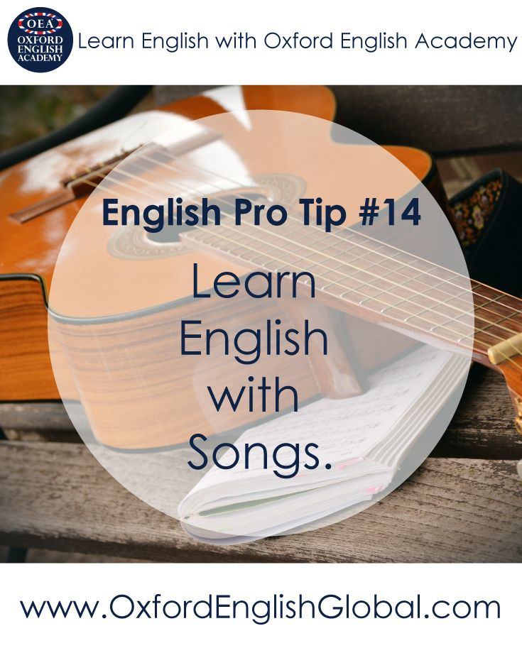 We all know how easy it is to get a song stuck in your head. If you can do this with an English song, you will remember the English you heard for the rest of your life. English songs are also fantastic for pronunciation and for colloquial language and slang. Click VISIT for more English learning hints and tips from the Oxford English Academy blog.  #oxfordenglishacademy #learnenglish #englishschool #englishcourse #learnenglishoxford