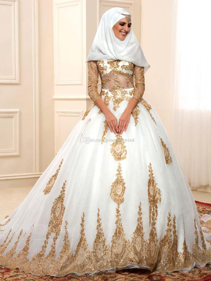 2016 Gold Sequin Arabic Wedding Dresses Muslim Hijab Gown Appliques Long Slieeves Chapel Train Islamic