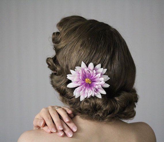 "Lilac Fascinator Flower, Purple Hair Clip, Lavender Headpiece, Floral Hair Piece, 1950s Hair Accessory Winter Dahlia - ""Iced Enchantment"""