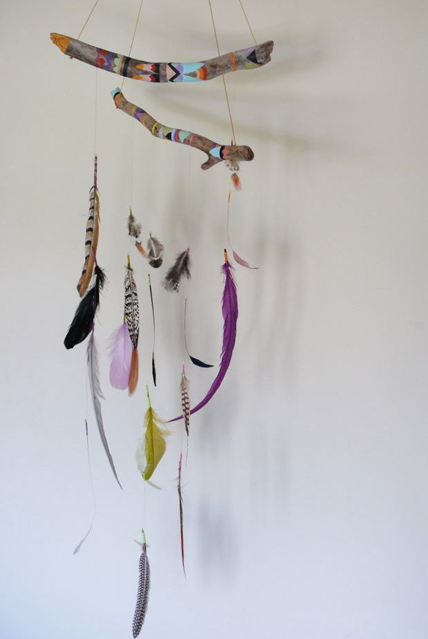 Dreamcatcher Mobile :: feathers :: branches :: color :: bohemian :: wall hanging :: art :: craft :: home décor :: inspiration @aumandamen