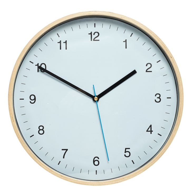 Round blue and nature clock with wooden frame. Product number: 639004 - Designed by Hübsch