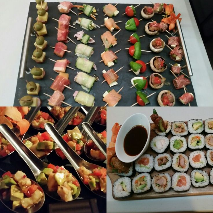 Assorted gourmet canapés, prawn and avocado  salsa spoons and assorted sushi. Made by Kaitris Catering