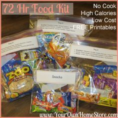 72 Hr Kit Food List.  No Cook.  High in Calories.  Low Cost.  Plus FREE Printables!  Great for a Relief Society meeting or any other group interested in preparedness!  http://www.yourownhomestore.com/72-hour-food-kit/