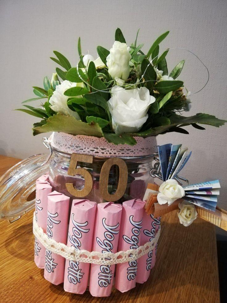 Geldgeschenk 50 Geburtstagsblumen Schokolade