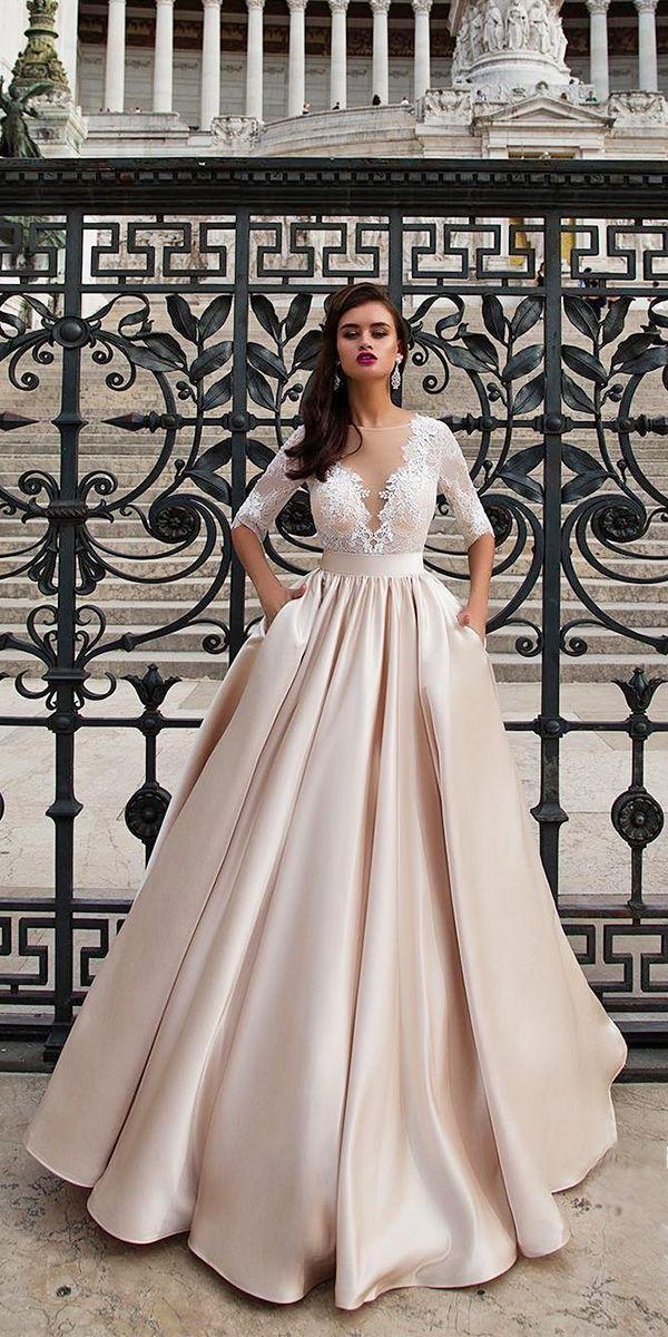 lace sleeve blush wedding dresses