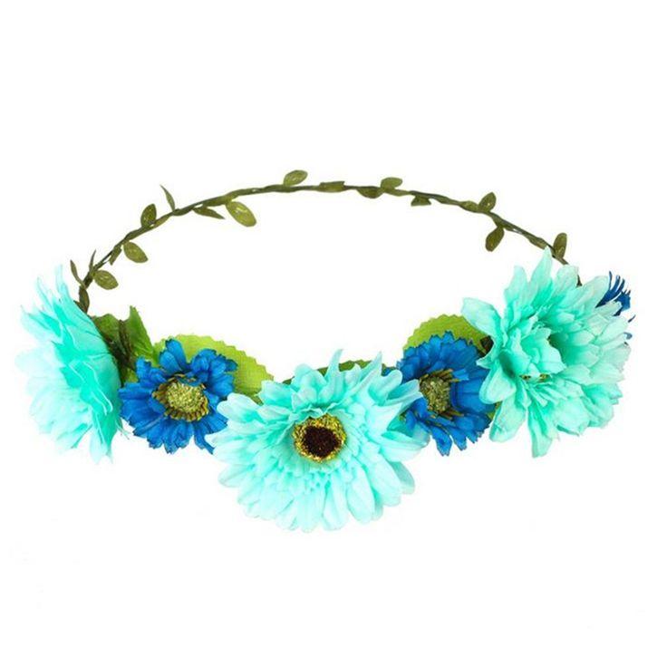 AWAYTR Fashion Bohemia Beach Wedding Flower Headband Hair Accessory 5 Colors Chrysanthemum Headwear Floral HairBand (Cyan) -- Click image for more details. (Amazon affiliate link)