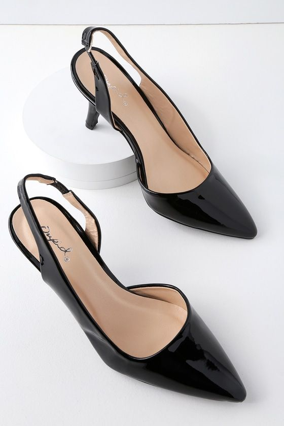 9f483e039715 You ll want to wear the Neely Black Patent D Orsay Slingback Pumps all day!  Sleek