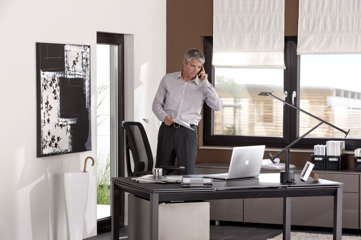 GEALAN wood decor windows #largewindows #office #workspace