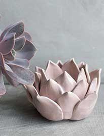 Portacandele in ceramica colore rosa