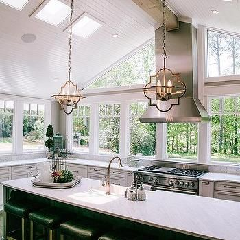 Kitchen Vaulted Beadboard Ceiling with Skylights