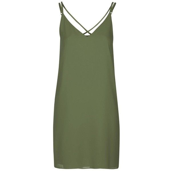 Topshop Crisscross Strap Slipdress found on Polyvore featuring topshop and green slip