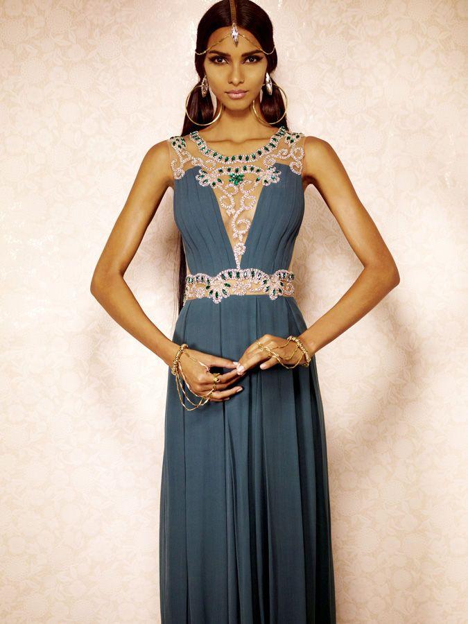 Indo western dress for wedding reception. Lais Ribeiro for Patricia Bonaldi Winter 2013