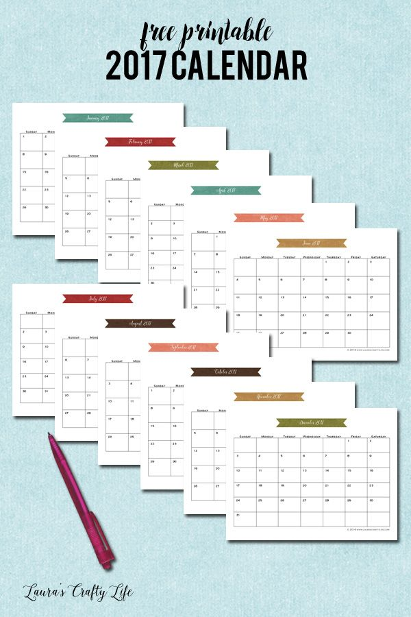 2017 Calendar. Download and print this FREE 2017 monthly calendar. Coordinates perfectly with the other home management binder printables.