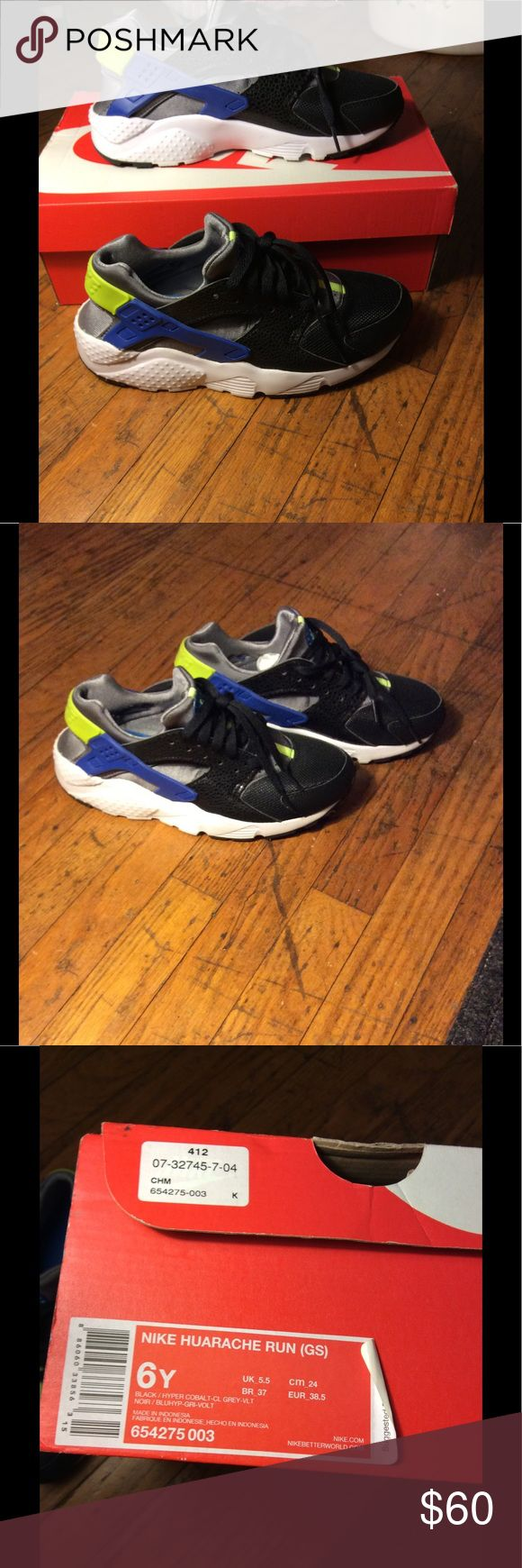 Nike Huarache Sneakers Lime green, blue, shiny black, grey, and white huaraches. Worn a few times. Size 6Y but can fit a women's size 7 Nike Shoes Sneakers