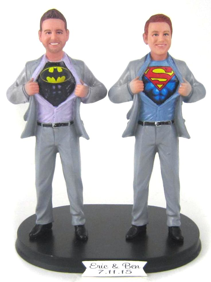 We pair two Super Hero grooms on this cake topper. You choose the secret identities for both (by the way - we can use any logo under the shirts). We'll customize with your faces, hair and choice of suit, tie, shoe color. #Batman and #Superman shown here.