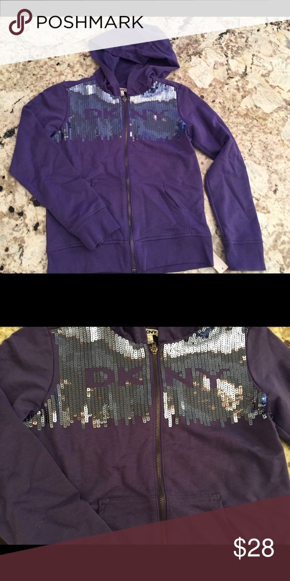 DKNY purple sequin hoodie Sz Large Girls This beautiful DKNY active kids purple hoodie with sequins is new with tags perfect for a gift or Christmas present Dkny Jackets & Coats