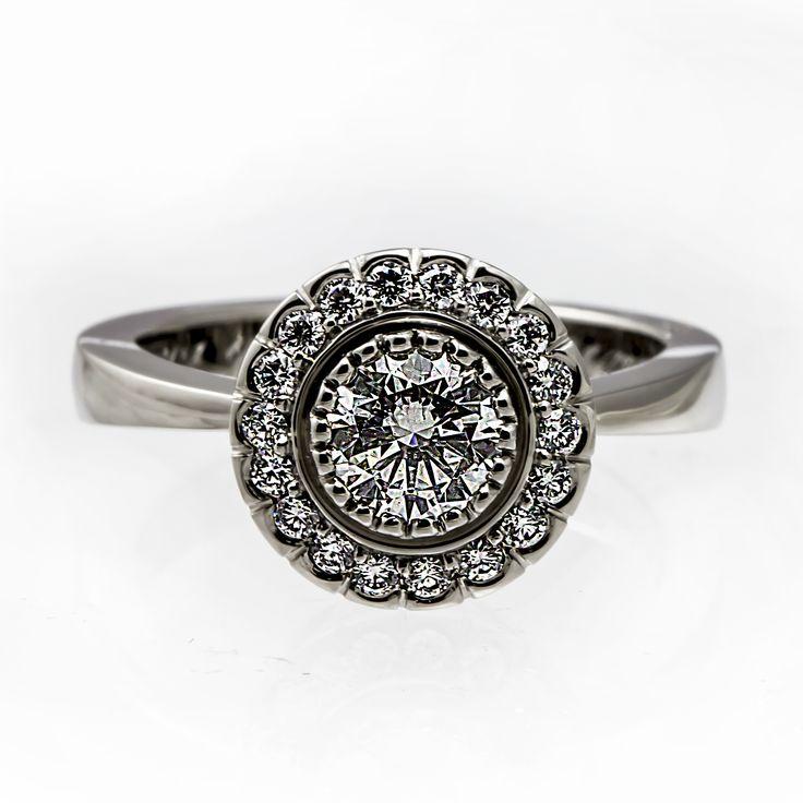 Handmade diamond halo ring
