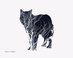 Arte de lobo, azul marino fotomontaje, Animal Tótem minimalista del suroeste, nativos americanos, lobos Casa Decor, pared que cuelga, impresión de Giclee