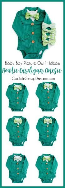 baby boy st. patrick's day outfit for pictures, Green Cardigan Onesie