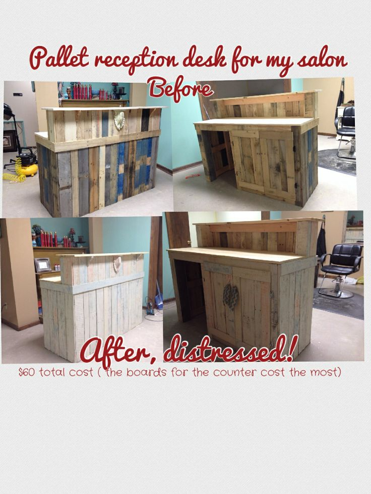 """Me and my boyfriend (mostly him) made this AWESOME reception desk for my salon, """"Bella La Vita""""......... I am IN LOVE with it!! It is definitely a conversation piece at the salon!!....the pallets were free, $60 was my total investment .... And some hard work by my amazing boyfriend, Clint!! He must love me!! We had ZERO plans, just the vision in my head......."""