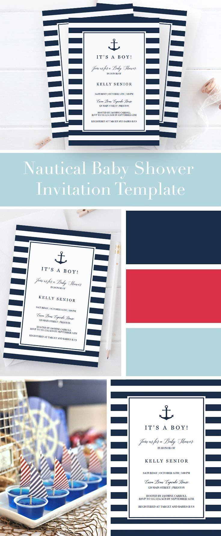 Nautical Baby Shower ideas by LittleSizzle. Baby Shower Invitation Template for boy. Make the perfect announcement of your friends baby shower with this chic navy blue baby shower invitation. Easily personalize the invitation with your own words. Simply download, edit, print and trim!