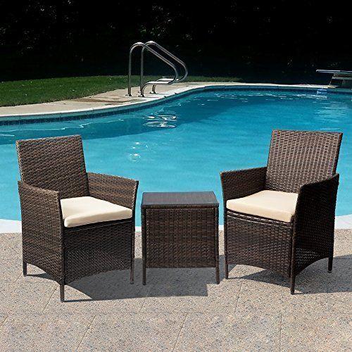 Garden Furniture Set Rattan Brown Chairs Beige Cushion With Table Outdoor Gift  #GardenFurnitureSet