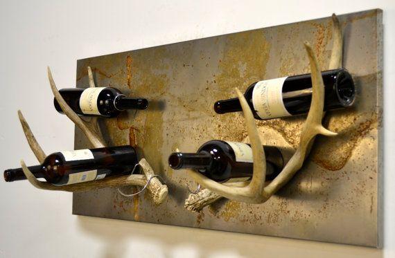 Rustic Antler Wine Rack by DesertShedDesign on Etsy